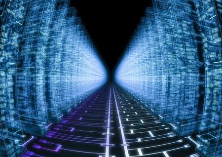 montaje: Imagen 3D de un circuito con el lenguaje ensamblador en los lados