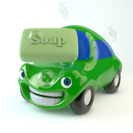 anthropomorphism: 3d image of an orange happy car washing with sopa Stock Photo