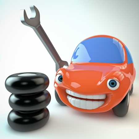animated: 3d image of an orange happy car Stock Photo