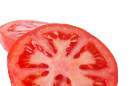 tomato slice: tomato slices over white background Stock Photo