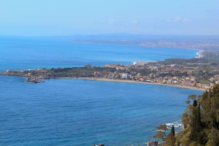naxos: View of Giardini Naxos form Taormina,Sicily,Italy Stock Photo
