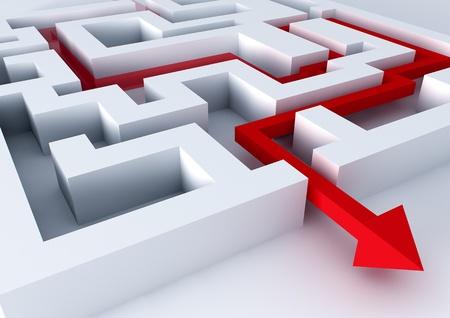 rendered image of an arrow inside a labyrinth Standard-Bild