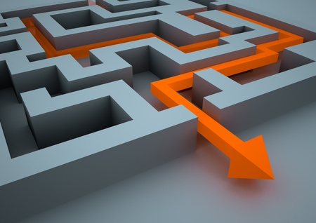 problem solved: rendered image of an arrow inside a labyrinth Stock Photo