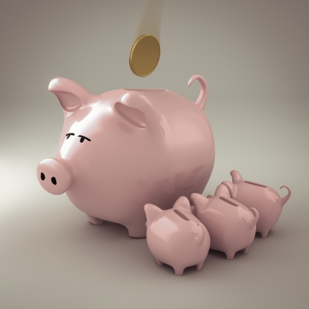 putting money in pocket: Piggy bank with piglets