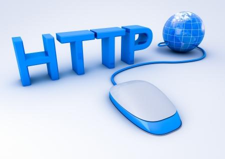 logo informatique: souris connectée au monde via http