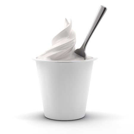 yogurt natural: la prestación si un yogur con una cuchara, vista frontal