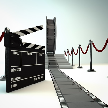 render of a film reel with a clapboard photo