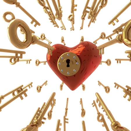 finding love: 3d render of an heart with a lot keys