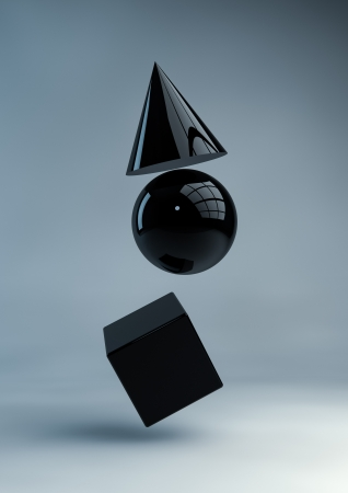 technological: Render of black geometric shapes Stock Photo