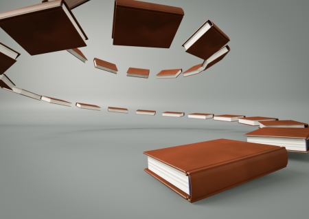 Render of a stair made of books photo