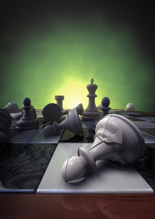 pawn king: 3d rendering of a closeup of a chessboard with a broken pawn