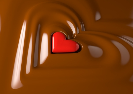 Render of a red heart in chocolate cream photo