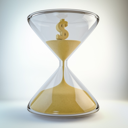sand timer: Render o an hourglass with a dollar made of sand inside