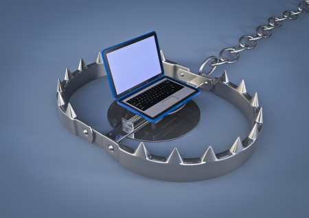 mantrap: render of a bear trap with laptop lure Stock Photo