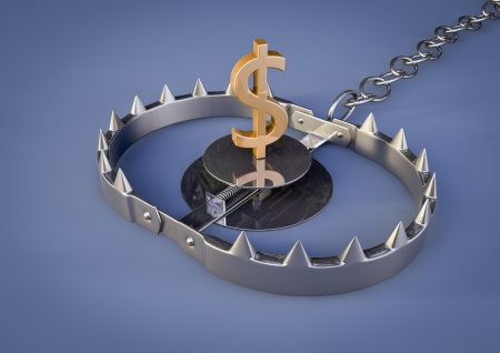 mantrap: render of a bear trap with a golden dollar lure Stock Photo