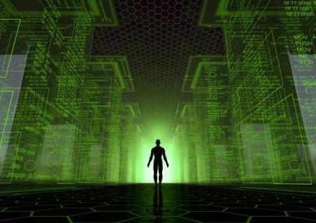 asamblea: hacen de un mundo virtual con un hombre entre los cubos gigantes Foto de archivo
