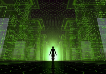 computer hacker: render of a virtual world with a man between giant cubes Stock Photo
