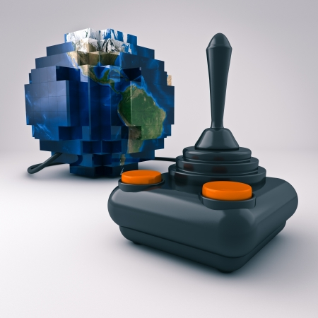gamepad: Render of a joystick connected to a Blocky world