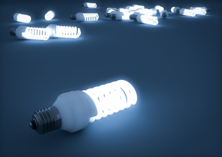 render of fluorescent light bulbs photo