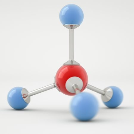 gas ball: Render of a methane molecule isolated on white background