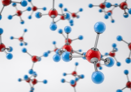 render of a lot of methane molecules photo