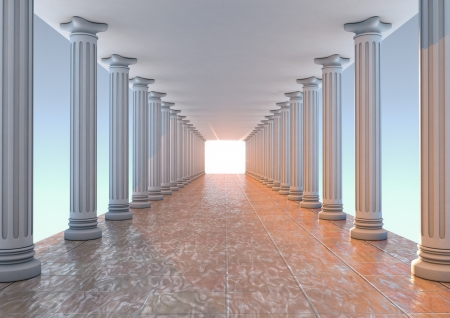 render of a corridor with columns Stock Photo
