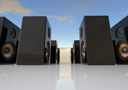 two party system: Render of a group of speaker boxes