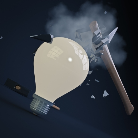 render of an hammer crashing on a indestructible light bulb photo