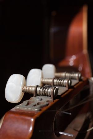pegheads: Macro of a classic guitar Stock Photo