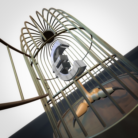 Rendering of an euro bird inside a bird cage Stock Photo - 15923031