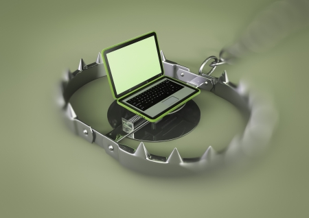 render of a bear trap with laptop lure Stock Photo - 15922896