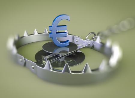 mantrap: render of a bear trap with euro lure Stock Photo