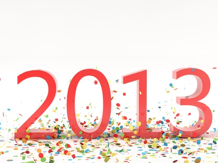 pf: render pf a 2013 red christams text with a lot of colorful confetti Stock Photo