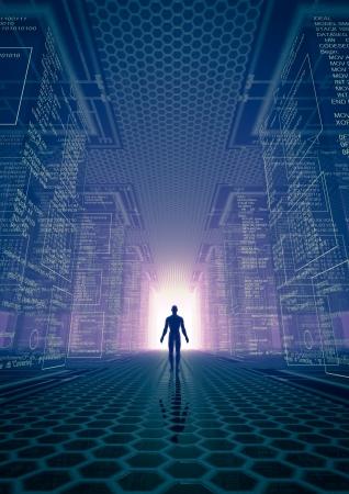 binary code: hacker world Stock Photo