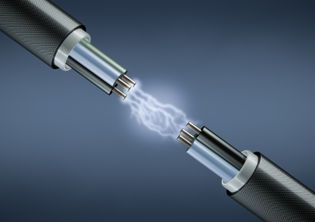 electrocute: Rendering of electric cables on dark background with lightings Stock Photo
