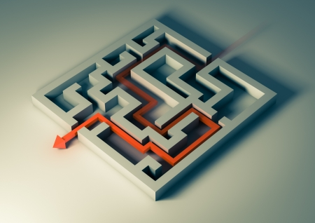 Rendering of a labyrinth with a red arrow inside