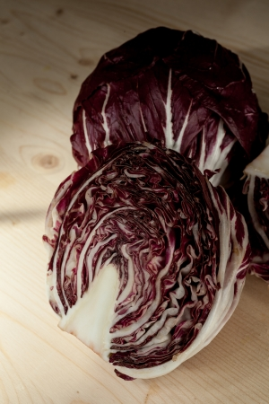 radicchio: Radicchio di Chioggia on a wooden table
