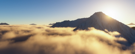 3d computer generated landscape of mountains over the clouds photo