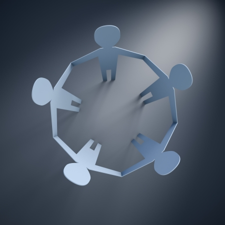 3d render of paper people in a circle photo