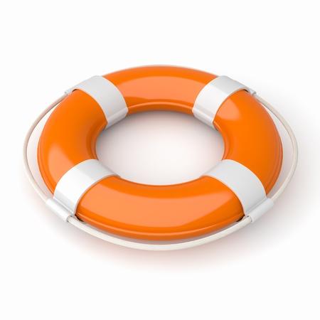 délivrance: Image 3d d'un bouée de sauvetage orange et blanc isolé sur blanc avec chemin de détourage