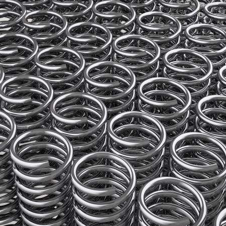 3d redering of a a lot of metal springs