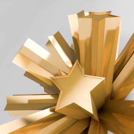 extruded: 3D rendering di estrusi stelle dorate