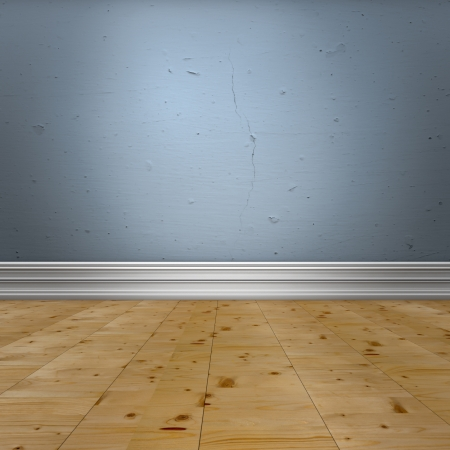 Interior design detail. Blue old  wall with  baseboard molding and wooden floor. Stock Photo