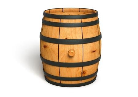 botella de whisky: Imagen generada por ordenador de un barril de vino de madera aislada en el fondo blanco Foto de archivo