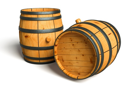 whiskey bottle: Computer generated image of a wine barrel made of wood isolated on white background