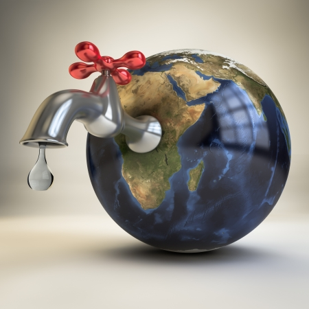 3d sink on Africa continent leaking a drop