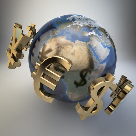 pieniądze: 3d waluty wokół słowa