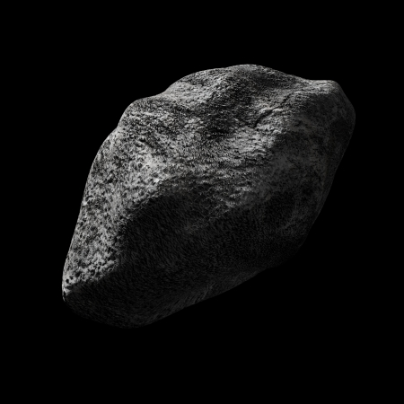 asteroid: render of an asteroid in empty space