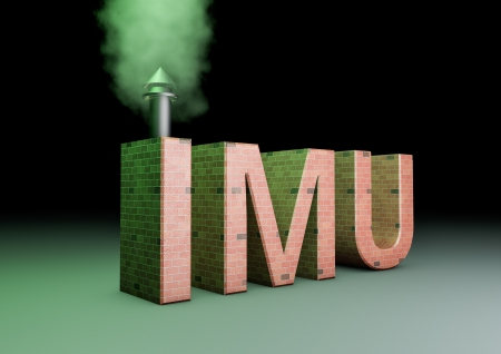 3d rendering of a imu text made of bricks with a smoking chimney(IMU is the new italian tac on properties) Stock Photo - 19933472