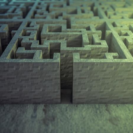 Gerenderde afbeelding van een pijl in een labyrint Stockfoto - 19934202
